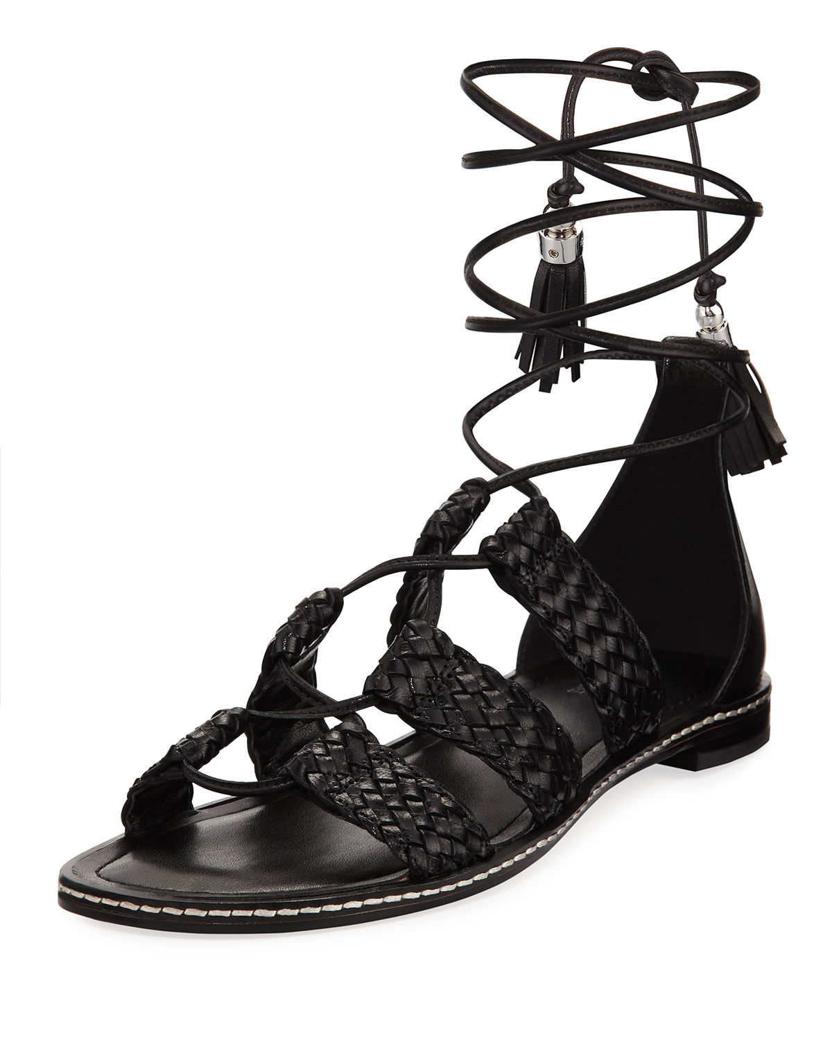 Monterey Woven Lace-Up Flat Gladiator Sandal