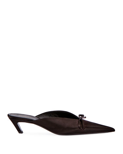Satin Pointed-Toe Slide Mule