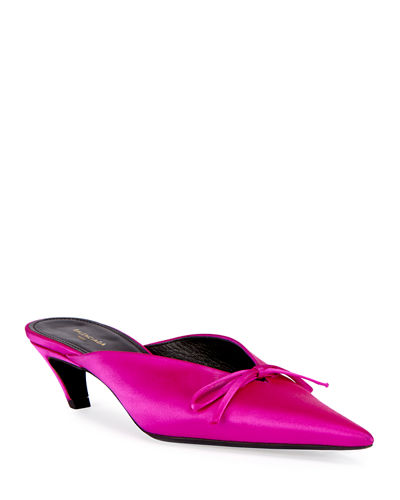 Satin Point-Toe Mule Pump