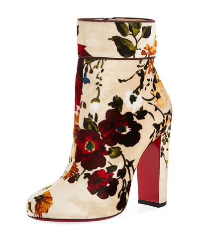 Christian Louboutin Moulamax Floral Velvet 100mm Red Sole