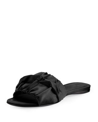 Image 1 of 4: Ellen Ruched Satin Mule Sandal