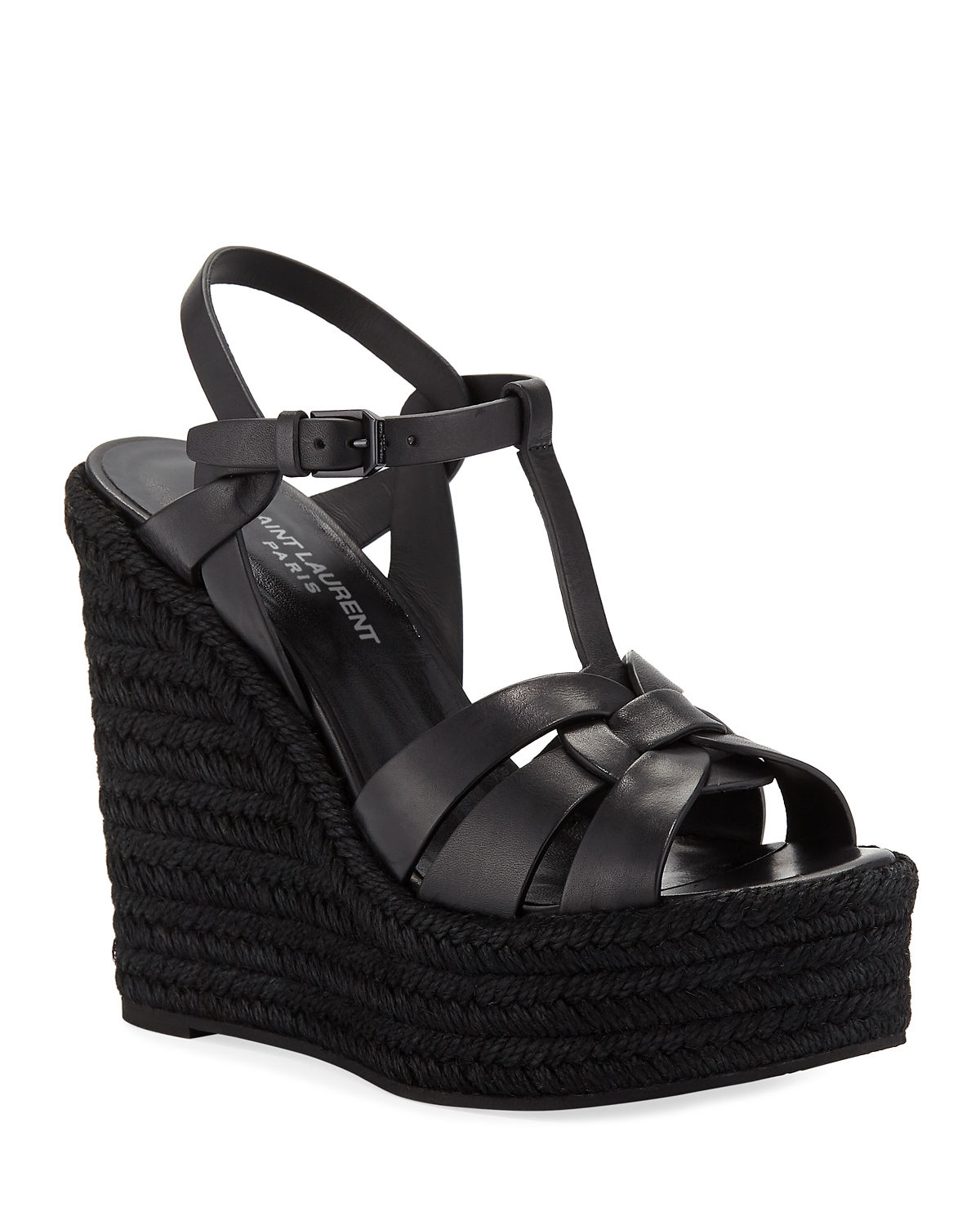 e802bf985 Saint Laurent Tribute Leather Platform Espadrille Sandal