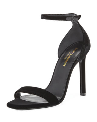 Saint Laurent Amber Velvet Ankle-Strap 105mm Sandal