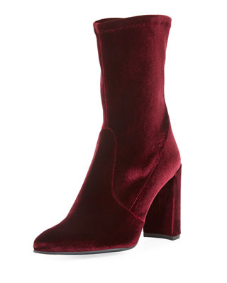 Stuart Weitzman Clinger Stretch-Velvet Mid-Calf Boot