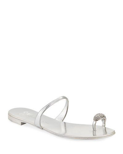 Crystal-Embellished Flat Toe-Ring Sandals