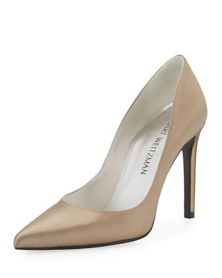 Stuart Weitzman Curvia Satin Pointed-Toe Pump