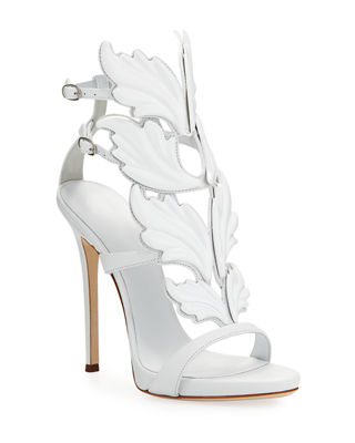 Women'S Cruel Coline Leather Wing Embellished High-Heel Sandals, White