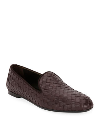 Woven Leather Smoking Slipper, Brown