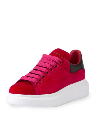Velvet Low-Top Wedge Sneaker