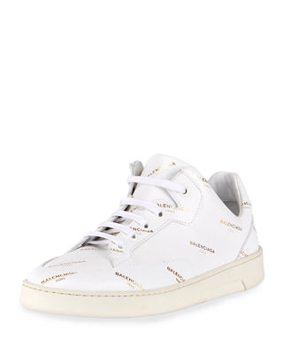 Logo-Print Mid-Top Lace-Up Sneaker