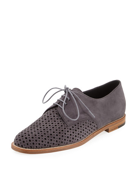 Manolo Blahnik Suede Leather-Trimmed Oxfords outlet factory outlet real cheap price aYdz0g