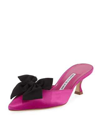 Image 1 of 5: Copena Kitten-Heel Satin Bow Mule