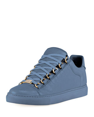 Crinkled Leather Lace-Up Sneaker