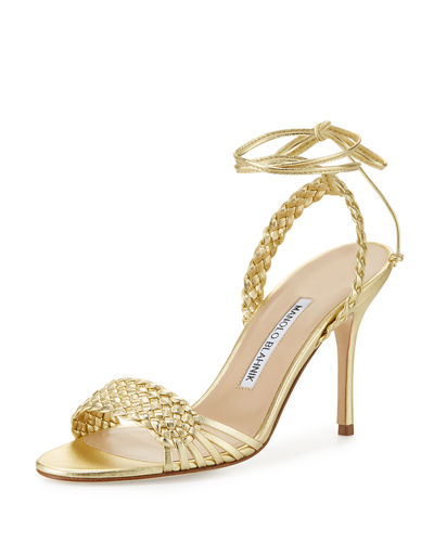 Manolo Blahnik Amus Woven Leather 90mm Sandal