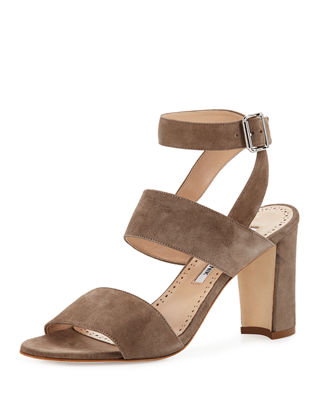 Image 1 of 4: Khanstrap Suede Chunky-Heel Sandal