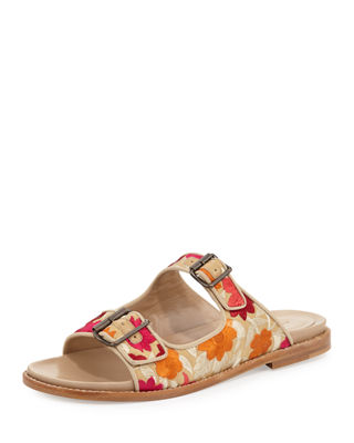 Manolo Blahnik Sturluspla Embroidered Slide Sandal