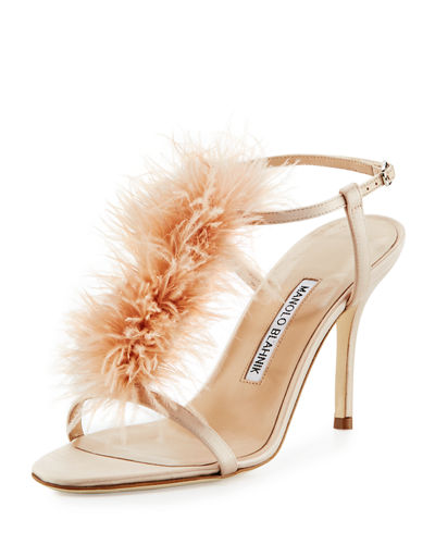 Manolo Blahnik Elia Feather T-Strap 105mm Sandal