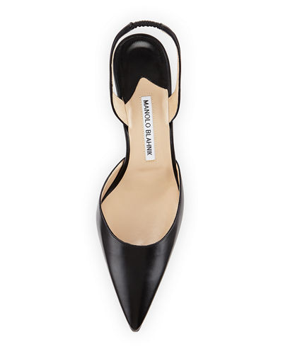 Manolo Blahnik Carolyne Leather Mid-Heel 70mm Halter Pumps