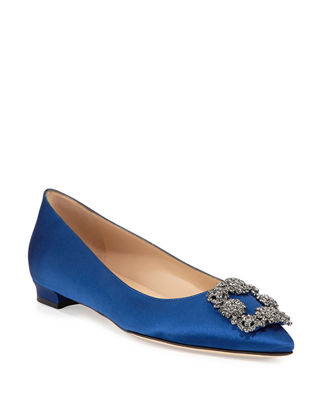 Hangisi Crystal-Buckle Satin Flat