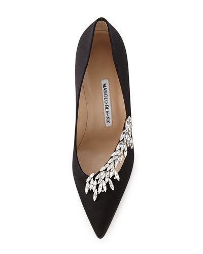 Nadira Jeweled Satin 90mm Pump