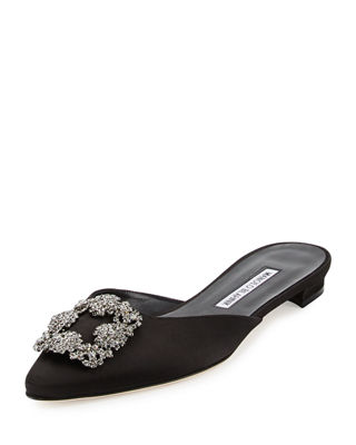Manolo Blahnik Embellished Pointed-Toe Mules