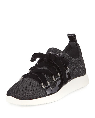 Knit Sneaker with Velvet Straps