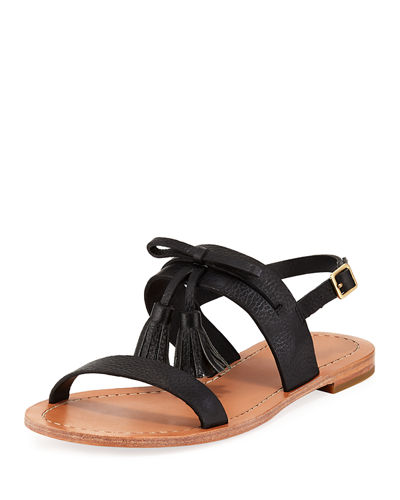 carlita flat pebbled leather tassel sandal