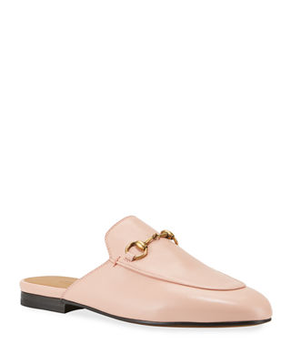 Princetown Horsebit-Detailed Leather Slippers in Blush