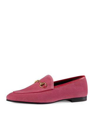 Jordaan Horsebit-Detailed Leather-Trimmed Velvet Loafers, Pink