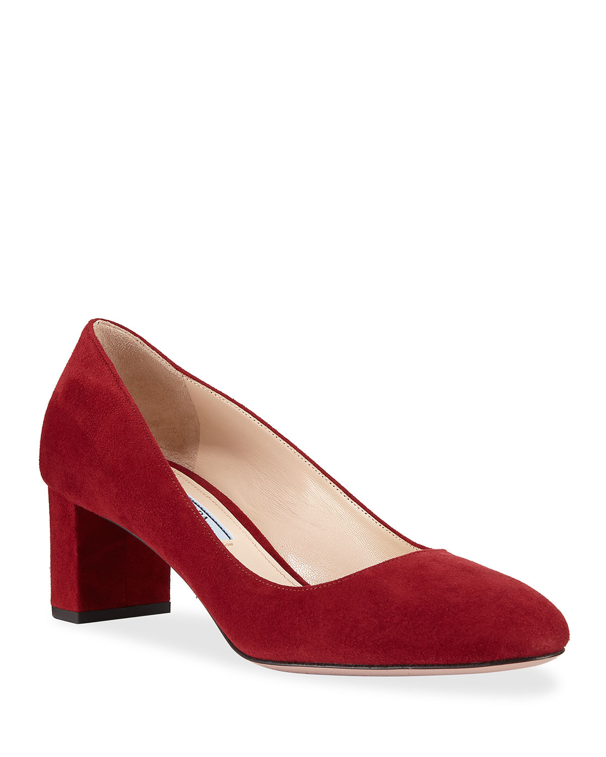 4186f9f93ba Prada Suede 55mm Block-Heel Pump