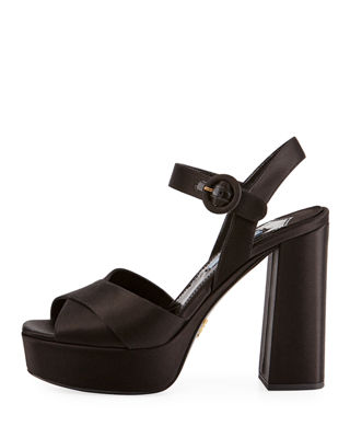 Image 2 of 3: Satin Crisscross 115mm Platform Sandal
