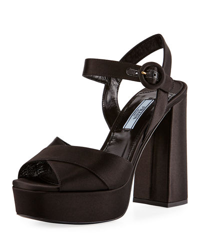 Satin Crisscross 115mm Platform Sandal