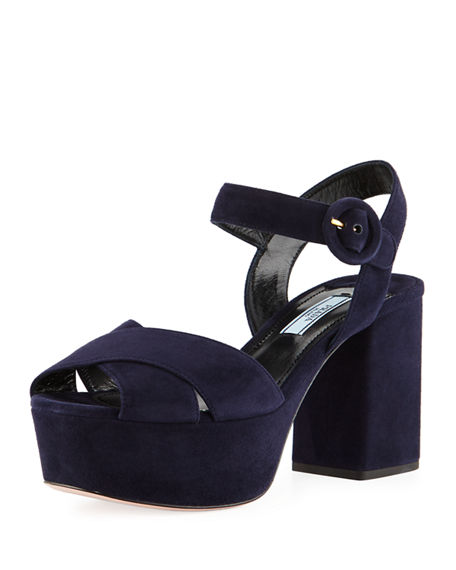 the best store to get cheap sale eastbay Prada Suede Platform Ankle-Strap Sandals MZNaP