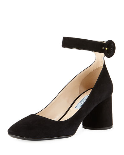 Suede Block-Heel Ankle-Wrap Pump