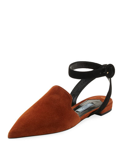 Suede Ankle-Wrap Suede Flat