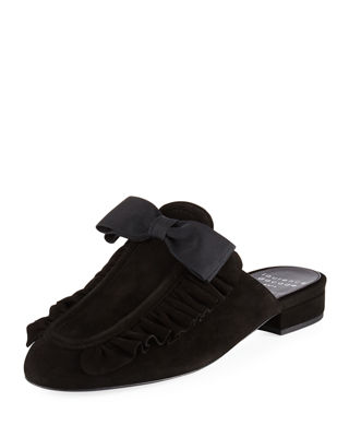 Image 1 of 3: Planet Ruffle Suede Bow Flat Mule