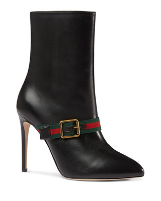Sylvie Grosgrain-Trimmed Leather Ankle Boots, Black