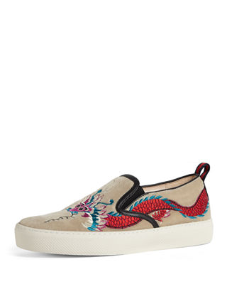 Gucci Dublin Dragon Embroidered Velvet Skate Sneaker