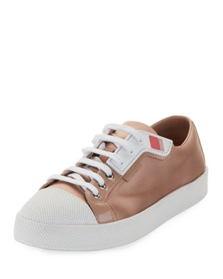 Satin Lace-Up Two-Tone Low-Top Sneaker