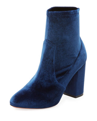 SO ME VELVET 85MM BOOTIE, CASPIAN BLUE