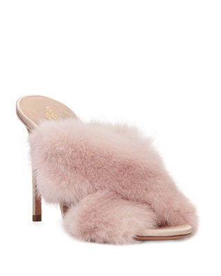 PURR MINK-FUR 105MM MULE SANDAL, POWDER PINK
