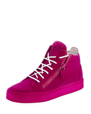 Flocked Suede Mid-Top Sneaker