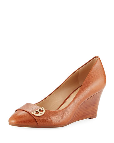 Tory Burch Sidney Crinkled Leather Wedge Pump