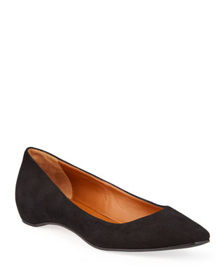 Image 1 of 4: Marcella Suede Ballerina Flat