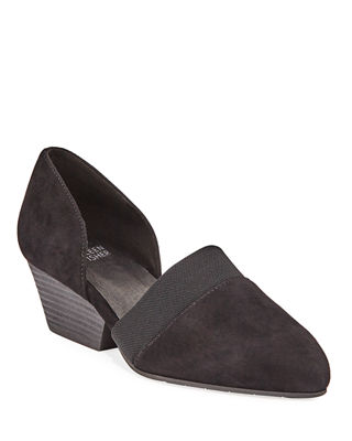Women'S Hilly Suede D'Orsay Mid-Heel Pumps, Black