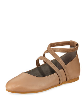 Eileen Fisher Joe Stretch-Strap Ballerina Flat