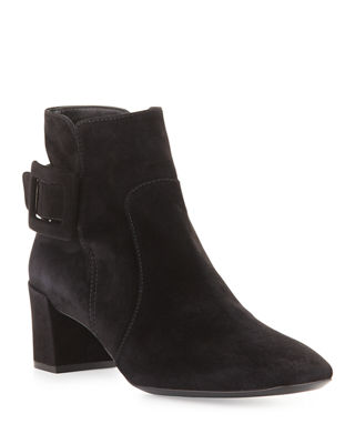 Roger Vivier Suede Buckle Ankle Boots