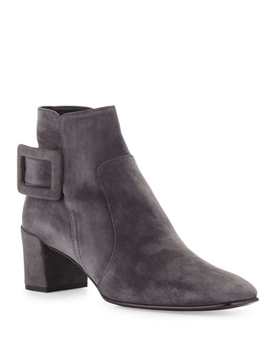 Polly Suede Side-Buckle Ankle Boot