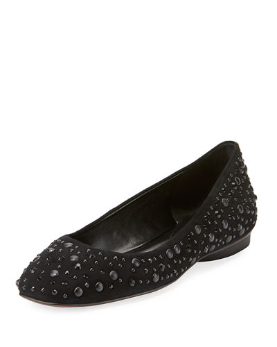 Dora Jeweled Suede Ballet Flat