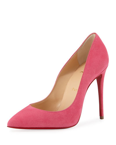 Christian Louboutin Pigalle Follies Suede Point-Toe Red Sole